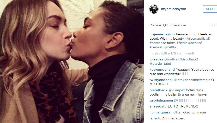 Jamie Clayton su Instagram- -Reunited and it feels so good With my beauty, @freemaofficial! #nomanita takes #Berlin @sense8 #Sense8 @netflix-